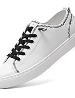 Homme Chaussures Polyuréthane Printemps Automne Confort Basket Lacet Pour Décontracté Blanc Noir