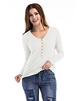 Women's Holiday Casual/Daily Simple Street chic Fall T-shirt,Solid Round Neck Long Sleeves Polyester