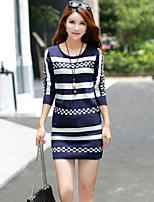 Women's Going out Casual/Daily Street chic Fall T-shirt Skirt Suits,Print Round Neck Long Sleeve Micro-elastic