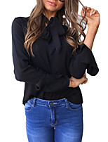 Women's Going out Casual/Daily Sexy Simple ShirtSolid V Neck Long Sleeves Polyester