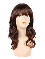 Women Synthetic Wig Capless Medium Length Curly Brown Natural Hairline Layered Haircut Halloween Wig Natural Wigs Costume Wig