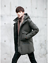 Men's Regular Down Coat,Street chic Casual/Daily Solid-Polyester White Duck Down Long Sleeves
