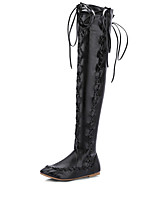 Women's Shoes PU Fall Winter Novelty Light Soles Boots Low Heel Round Toe Thigh-high Boots Lace-up For Casual Party & Evening Brown