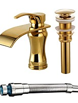 Centerset Waterfall with  Ceramic Valve Gold , Bathroom Sink Faucet