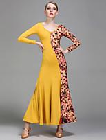 Ballroom Dance Dresses Women's Performance Milk Fiber Ice Silk Pattern/Print 1 Piece Long Sleeve Natural Dress