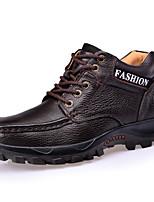 Masculino sapatos Pele Napa Outono Inverno Conforto Forro de fluff Oxfords Botas Cano Médio Cadarço Para Casual Preto Castanho Escuro