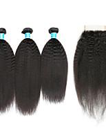 Cheveux humains Cheveux Brésiliens Trame cheveux avec fermeture Droit crépu Extensions de cheveux 4 Noir
