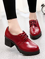 Women's Shoes PU Spring Fall Combat Boots Boots Chunky Heel Booties/Ankle Boots For Casual Black Gray Burgundy