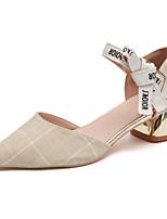 Feminino Sapatos Tecido Outono Conforto Saltos Salto Grosso Dedo Apontado Combinação Para Casual Bege Cinzento