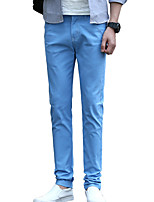 Men's Mid Rise Micro-elastic Chinos PantsSimple Straight Solid HD-8811