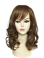 Women Synthetic Wig Capless Long Natural Wave Brown With Bangs Party Wig Celebrity Wig Halloween Wig Carnival Wig Cosplay Wig Natural Wigs