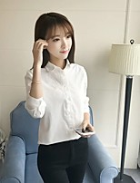 Women's Going out Casual/Daily Sexy Simple Street chic Spring Fall Shirt,Solid Shirt Collar Long Sleeves Cotton Others Thin Medium