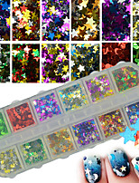12Colors/Box Mix Glitter Sequins Stars Paillette Shining Nail Art Decoration