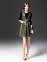 Damen Einfarbig Einfach Lässig/Alltäglich Arbeit T-Shirt-Ärmel Rock Anzüge,Rundhalsausschnitt Frühling Herbst ¾ Ärmel Mikro-elastisch
