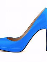 Femme Chaussures Cuir Verni Eté Escarpin Basique Chaussures à Talons Talon Aiguille Bout pointu Pour Habillé Fuchsia Rouge Bleu