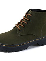 Women's Shoes Suede Fall Combat Boots Boots Flat Heel Round Toe Lace-up For Casual Army Green Black