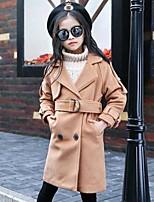 Девочки Куртка / пальто Хлопок Нейлон Однотонный Весна Осень Длинный рукав
