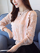 Women's Casual/Daily Work Simple Spring Fall T-shirt,Solid Round Neck Long Sleeves Polyester Thin
