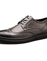 Для мужчин обувь Полиуретан Осень Зима Удобная обувь Кеды Для прогулок Шнуровка Назначение Повседневные Черный Серый