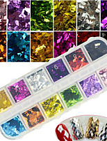 12Colors/Box  Colorful Rhombus Charm Nail Art 3D Glitter Sequins Shining DIY Manicure Decoration
