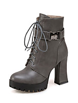 Women's Shoes PU Fall Winter Comfort Novelty Fashion Boots Boots Chunky Heel Round Toe Buckle Lace-up For Office & Career Dress Brown