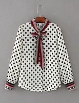 Women's Going out Casual/Daily Sexy Simple Street chic Spring Fall Shirt,Polka Dot Print Stand Long Sleeves Cotton Others Thin Medium