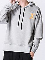 Men's Plus Size Casual/Daily Simple Hoodie Solid Print Hooded Micro-elastic Cotton Long Sleeve Fall Winter