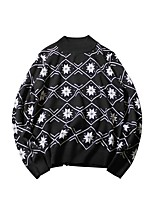 Men's Casual/Daily Street chic Regular Pullover,Print Round Neck Long Sleeves Cotton Polyester Fall Winter Medium Micro-elastic