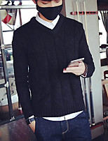 Men's Casual/Daily Regular Cardigan,Solid V Neck Long Sleeves Cotton Summer Medium Micro-elastic