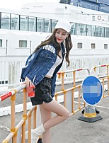 Women's Going out Simple Spring Fall Denim Jacket,Letter Stand Long Sleeve Regular Others