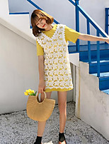 Women's Going out Street chic Summer Blouse Skirt Suits,Solid Round Neck Short Sleeve