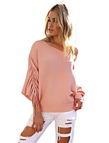 Women's Holiday Casual/Daily Street chic Fall T-shirt,Solid One Shoulder Long Sleeves Polyester