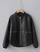 Women's Going out Casual/Daily Simple Street chic Fall Winter Leather Jacket,Solid Stand Long Sleeve Regular Others