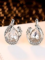 Women's Earring Back AAA Cubic Zirconia Fashion Elegant Silver Cubic Zirconia Circle Jewelry For Wedding Evening Party
