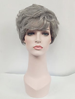 Women Synthetic Wig Capless Short Wavy Grey Side Part With Bangs Natural Wigs Costume Wig