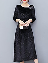 Women's Plus Size Going out Simple Sheath Dress,Solid Round Neck Midi Long Sleeves Velvet Fall Mid Rise Inelastic Medium