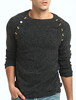 Men's Casual/Daily Simple Regular Pullover,Solid Round Neck Long Sleeves Polyester Fall Medium Stretchy