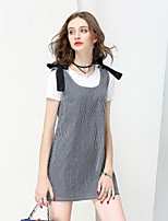 NO PEI SHU Women's Going out Casual/Daily Simple Cute A Line Dress,Striped U Neck Above Knee Sleeveless Cotton Summer Fall Mid Rise Inelastic Medium