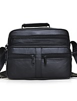 Men Bags All Seasons Sheepskin Shoulder Bag Zipper for Office & Career Black