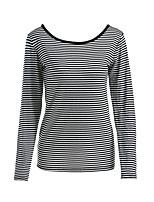 T-shirt Da donna Sport Casual Semplice Autunno,A strisce Rotonda Cotone Manica lunga Medio spessore