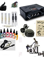 Starter Tattoo Kit 1 steel machine liner & shader LED power supply 7 × 15ml Tattoo Ink 5 x disposable grip Complete Kit