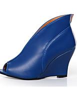 Feminino Sapatos Couro Ecológico Primavera Verão Conforto Inovador Botas da Moda Botas Anabela Peep Toe Botas Curtas / Ankle Para Social