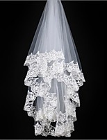 Wedding Veil One-tier Elbow Veils Lace Applique Edge Tulle