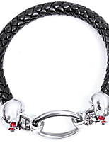 Men's Leather Bracelet Punk Rock Leather Alloy Skull Jewelry For Halloween Club