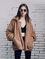 Women's Casual/Daily Work Club Simple Vintage Street chic Fall Winter Fur CoatSolid Shirt Collar Long Sleeve Regular Cashmere