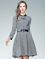 Swing Vestito Da donna-Per uscire Casual Moda città Pied-de-poule Colletto alla coreana Sopra il ginocchio Manica lunga Poliestere Autunno