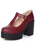 Women's Shoes PU Fall Winter Comfort Heels Chunky Heel Round Toe Buckle For Office & Career Dress Blue Red Black