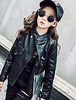 Girls' Solid Jacket & Coat,PU Polyester Spring Fall Long Sleeve