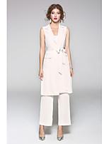 Damen Solide Druck Einfach Lässig/Alltäglich Shirt Hose Anzüge,Hemdkragen Herbst Ärmellos