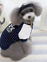 Dog Shirt / T-Shirt Dog Clothes Casual/Daily Stripe Dark Blue Gray